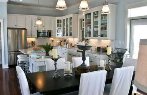 Classic Chic Home Open Concept White Kitchens Dining Rooms