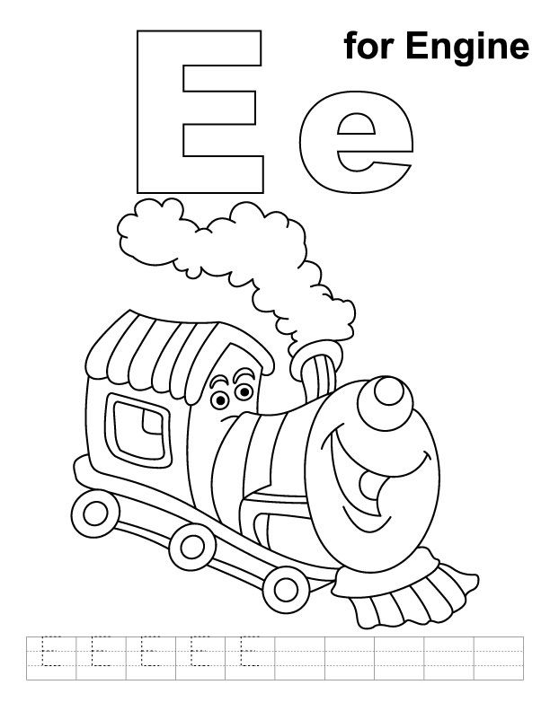 E For Engine Coloring Page With Handwriting Practice Kids