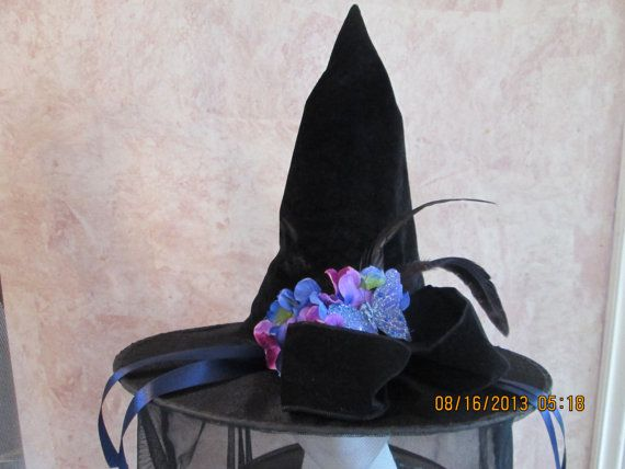 7a6af1e75e8 Velvet Witch Hat Halloween witch hat for by IsabellasHatsandBows