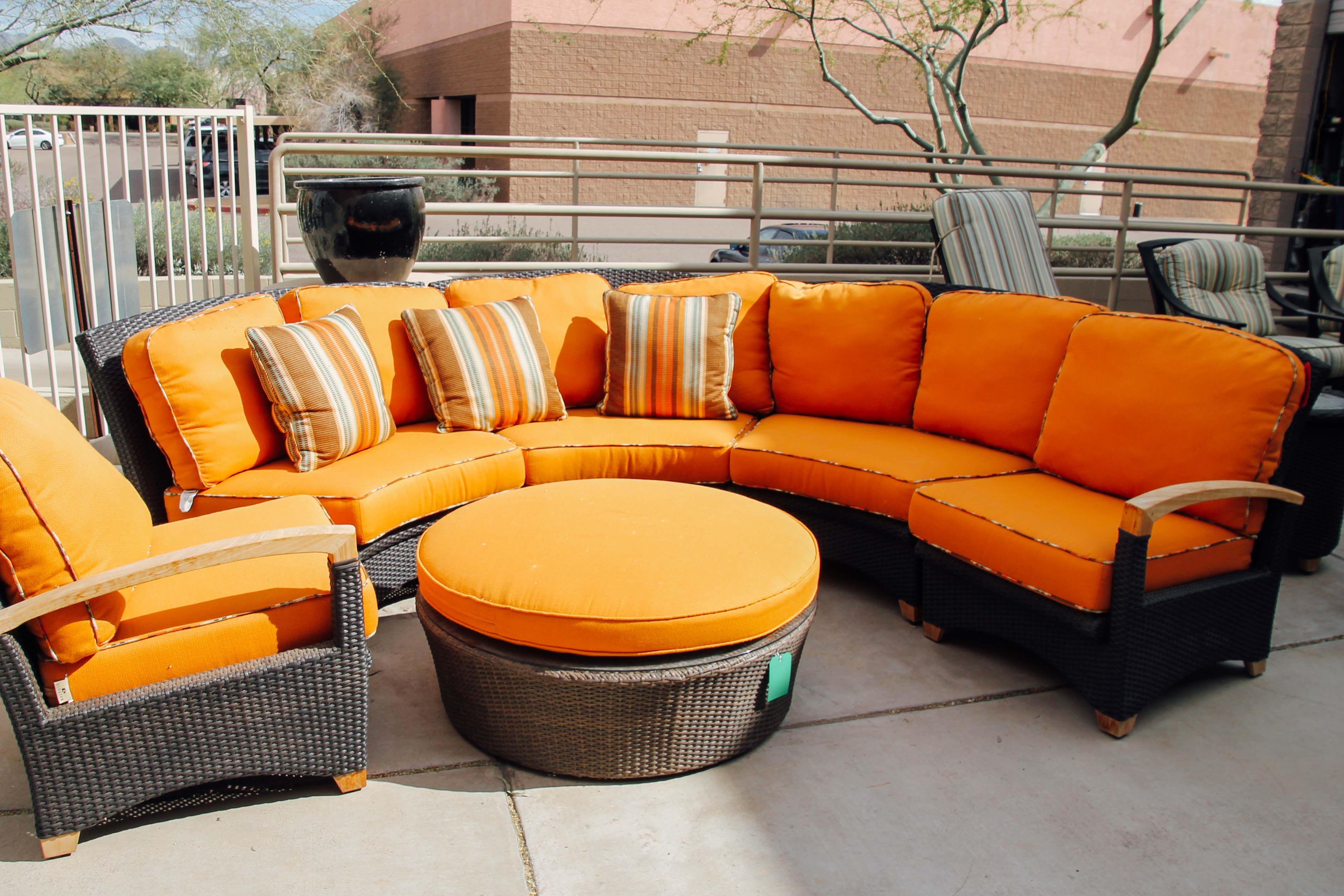 Orange patio furniture found at Avery Lane Fine Consignment in