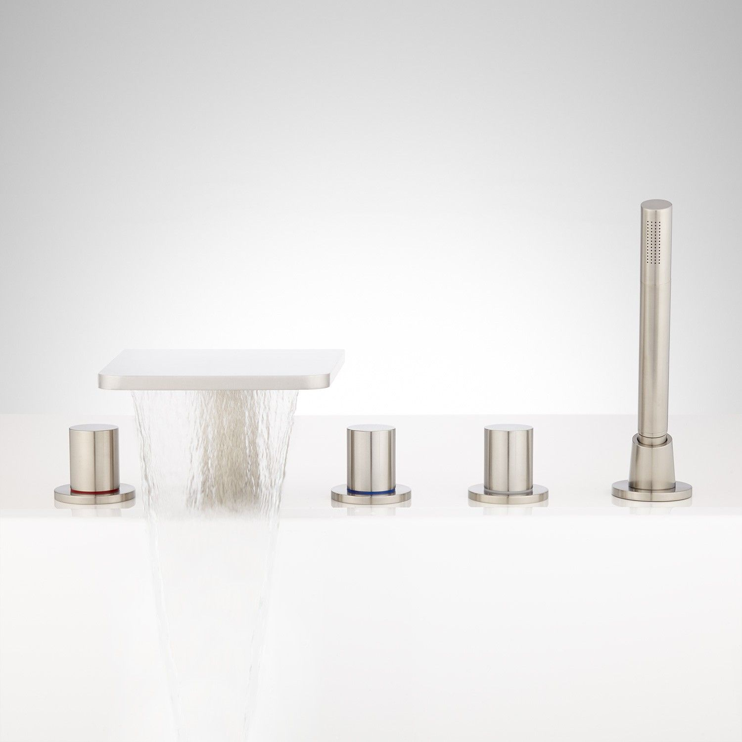 Knox Roman Waterfall Tub Faucet and Hand Shower   Brushed nickel and ...
