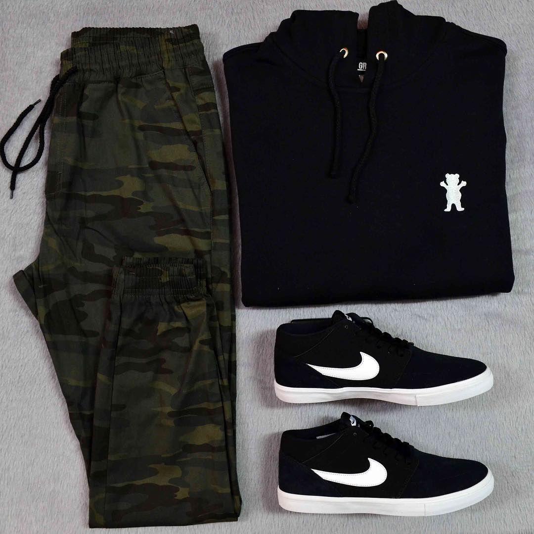 Moletom Grizzly + Calça Jogger Camo + Tênis Nike Sb