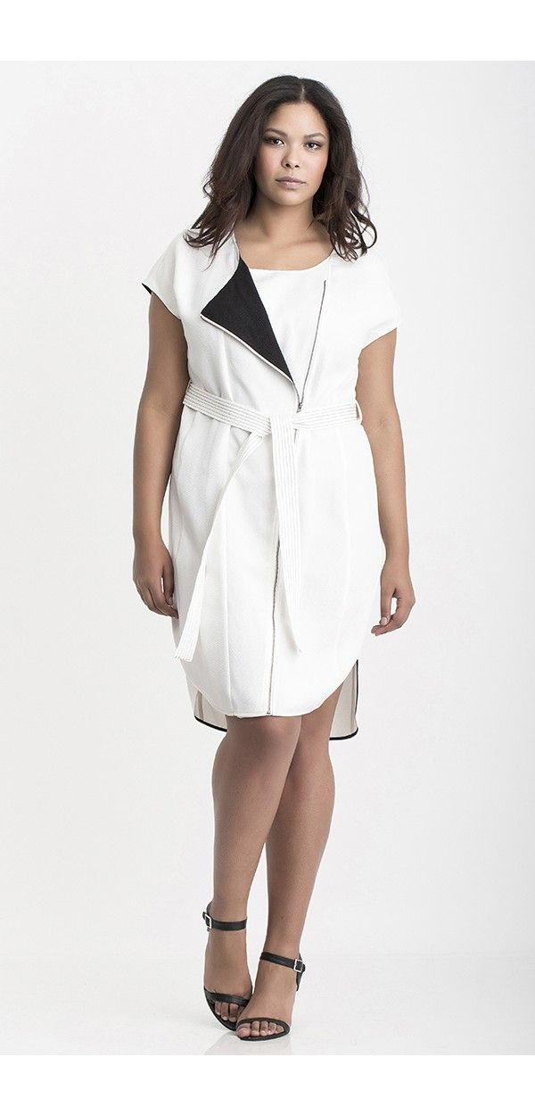 Carmakoma White Plus Size Dress With Contrast Details And Tie Belt