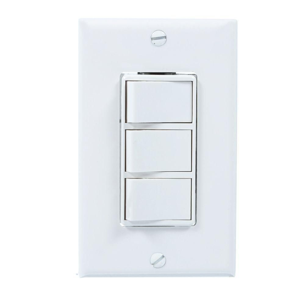 16d Product Overview The Broan 3 Rocker 4 Function Wall Switch In White Offers 3 Settings For A 1 Gang Application The Broan Bathroom Exhaust Fan Exhaust Fan
