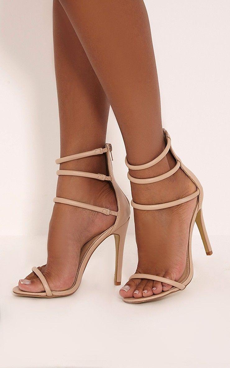 Womens Nude Ankle strap Platform Pumps Peep Toe Stilettos