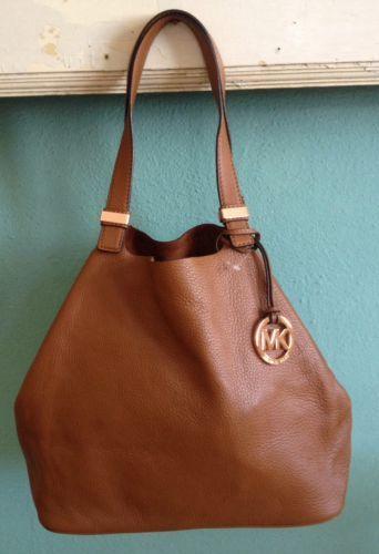 181c037041acfa Fall MICHAEL KORS Colgate LG Leather Grab Bag Brown Leather Tote Purse Rose  Gold