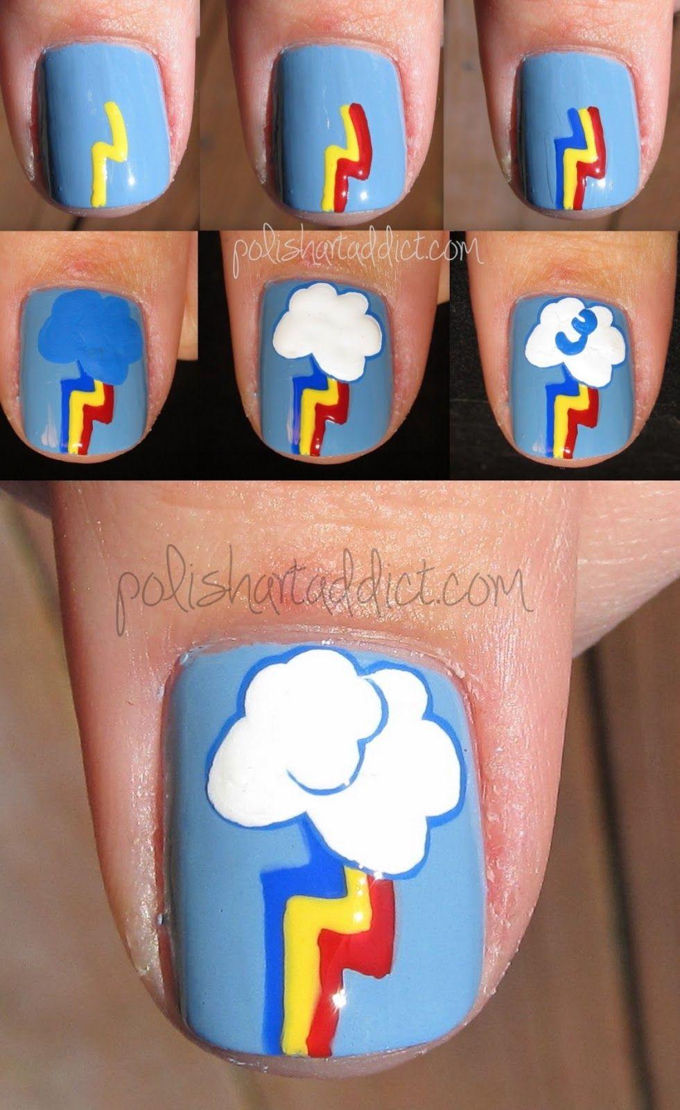 Polish Art Addict: MLP FIM - Rainbow Dash Tutorial   Nails ...
