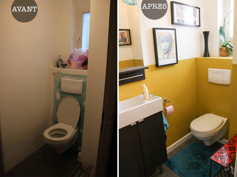 avant apr s la d co des toilettes monday deco bleu canard relooker et moutarde. Black Bedroom Furniture Sets. Home Design Ideas