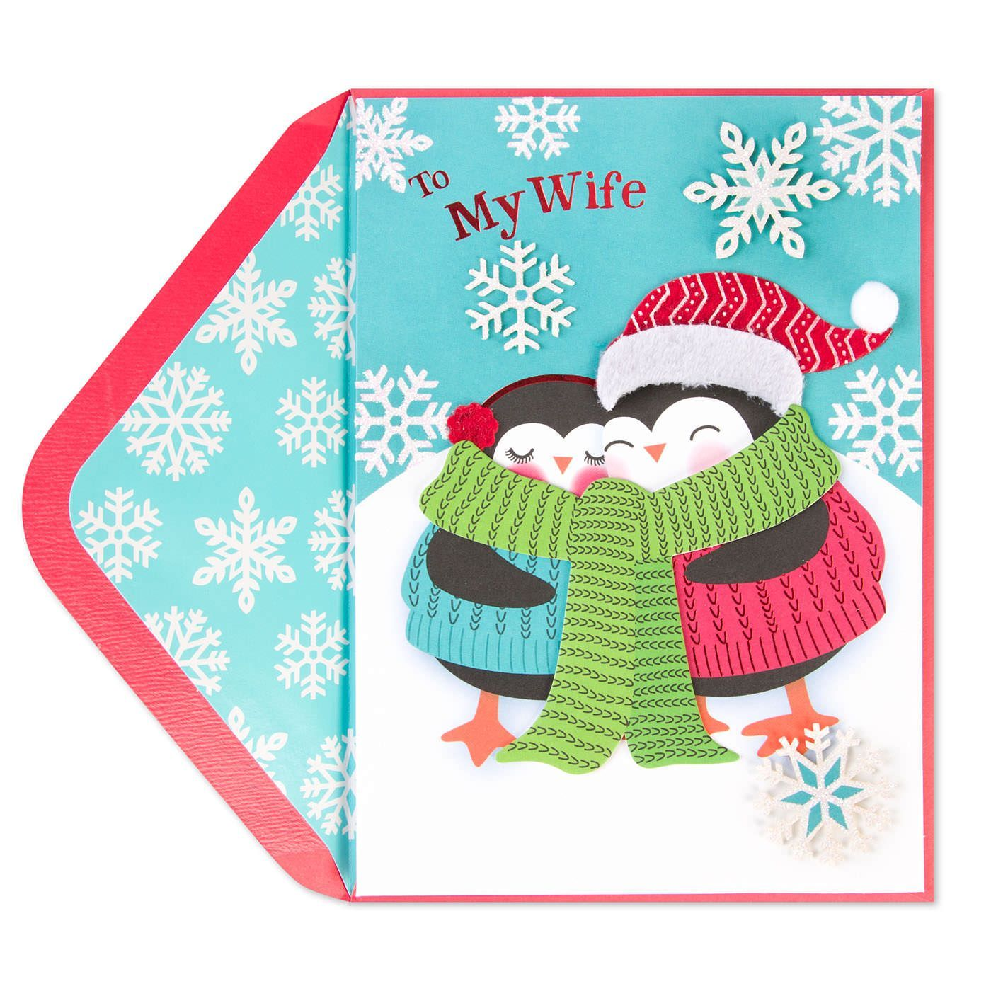Snuggling Penguins Christmas Card (For Wife) | Penguins and Merry