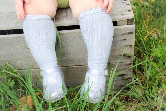 cc749074a Grey Girls Knee High Socks Cable Knit Hand Dyed Socks Baby Girls ...