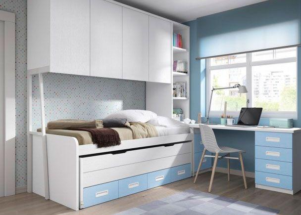 Dormitorio juvenil con 2 camas altillo puente y zona de for Mueble puente juvenil