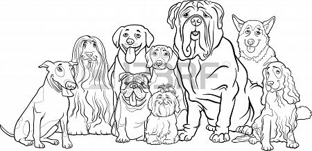 Black And White Cartoon Illustration Of Funny Purebred Dogs Or Puppy Coloring Pages Dog Coloring Page Dog Coloring Book