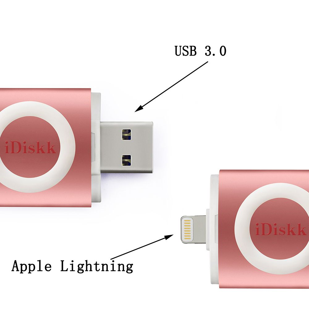 Idiskk Usb 3 0 Flash Drive With Lightning Connector External Storage Memory For Iphone Ipad