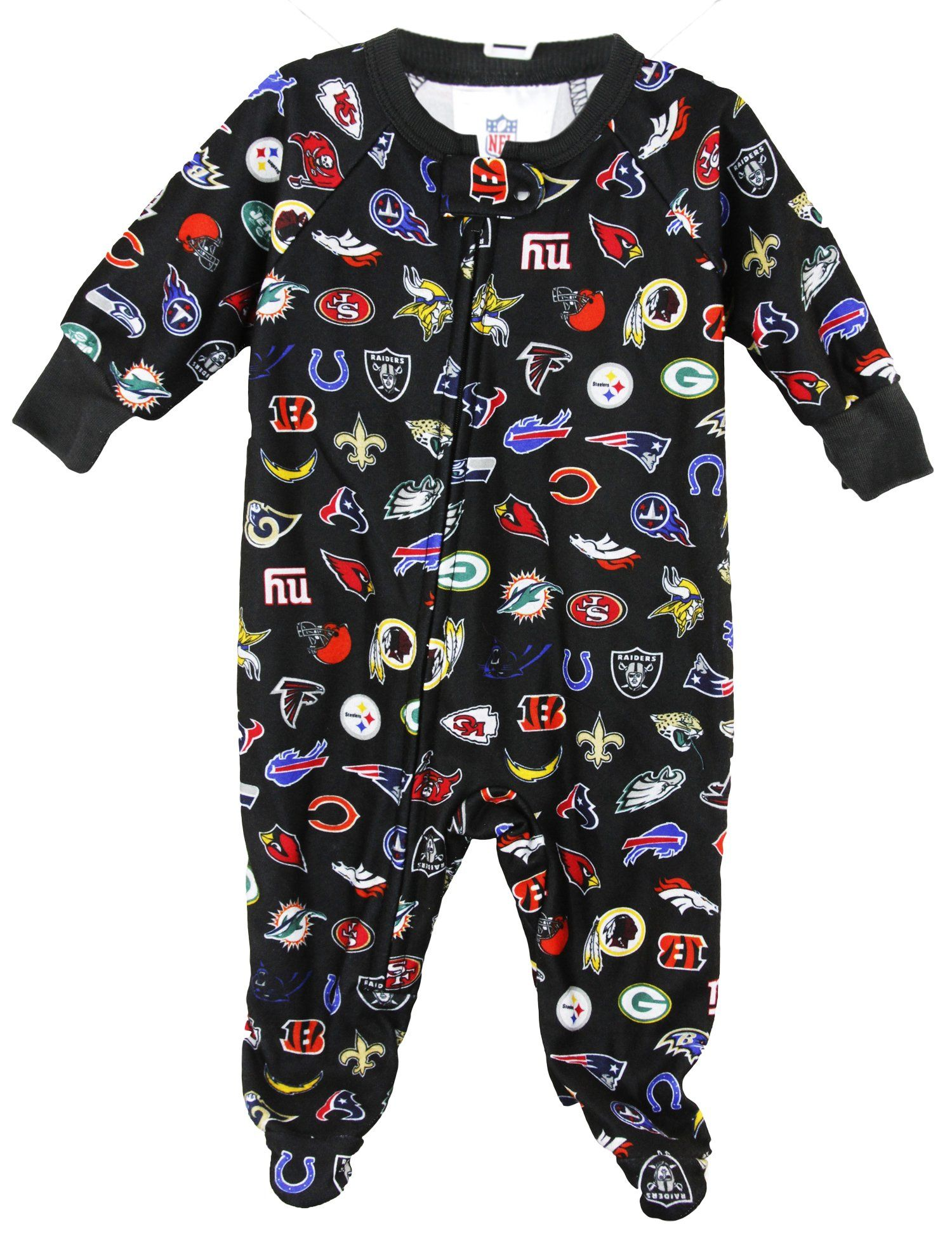 efcafab3a8 Gerber NFL Football Infant Baby Printed Blanket Footed Football Sleeper -  Black
