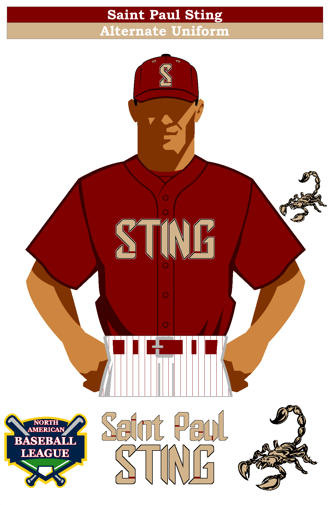 Saint Paul Sting Alternate Uniform Baseball Uniform Custom Baseballs Baseball