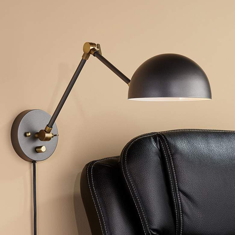 Kenora Gunmetal And Brass Plug In Swing Arm Wall Lamp 76d36 Lamps Plus In 2020 Swing Arm Wall Lamps Wall Lamp Lamp