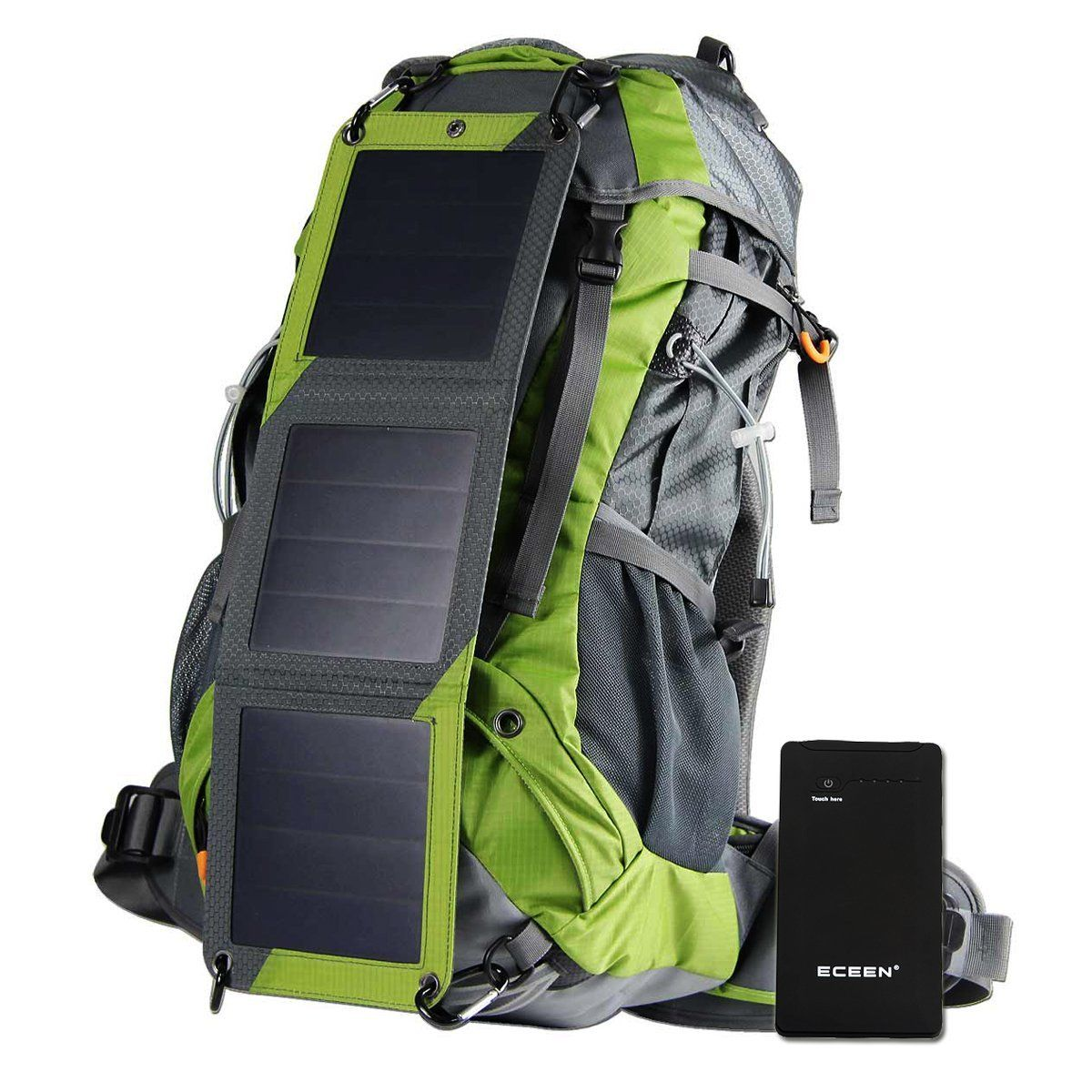 ECEEN Solar Powered External Frame Pack Sun Charged Hiking Backpack ...