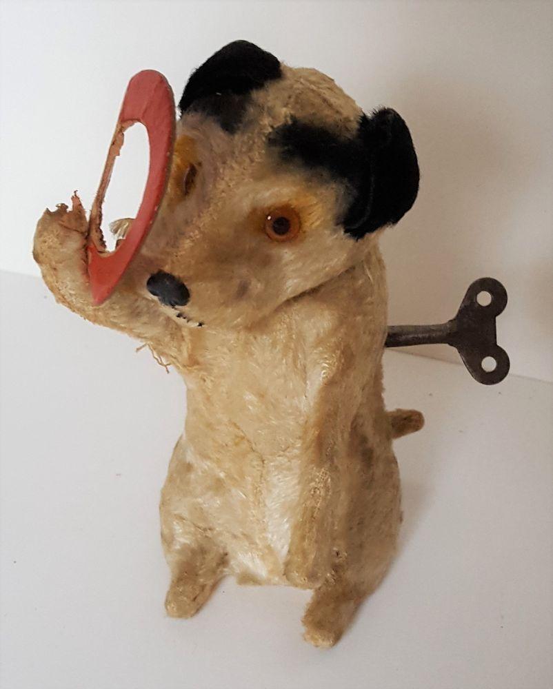 Antique Vintage Wind Up Toy Dog W Red Hoop Clockwork Mechanical