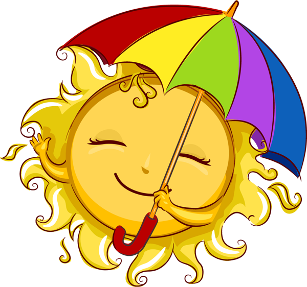 Sun With His Sunbrella Summer Clipart Moon Art Free Clip Art
