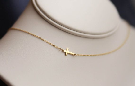 sideways cross necklace tiny sideways cross by bluegrassloft, $27.00