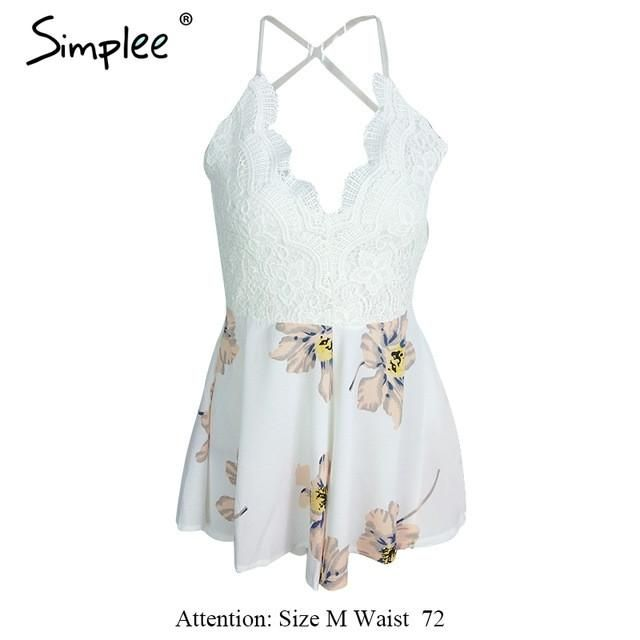 7bed1610d1ee White Lace Floral Jumpsuit Romper with Strap