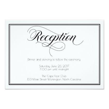 Black White Graceful Script Wedding Reception Enclosure Card