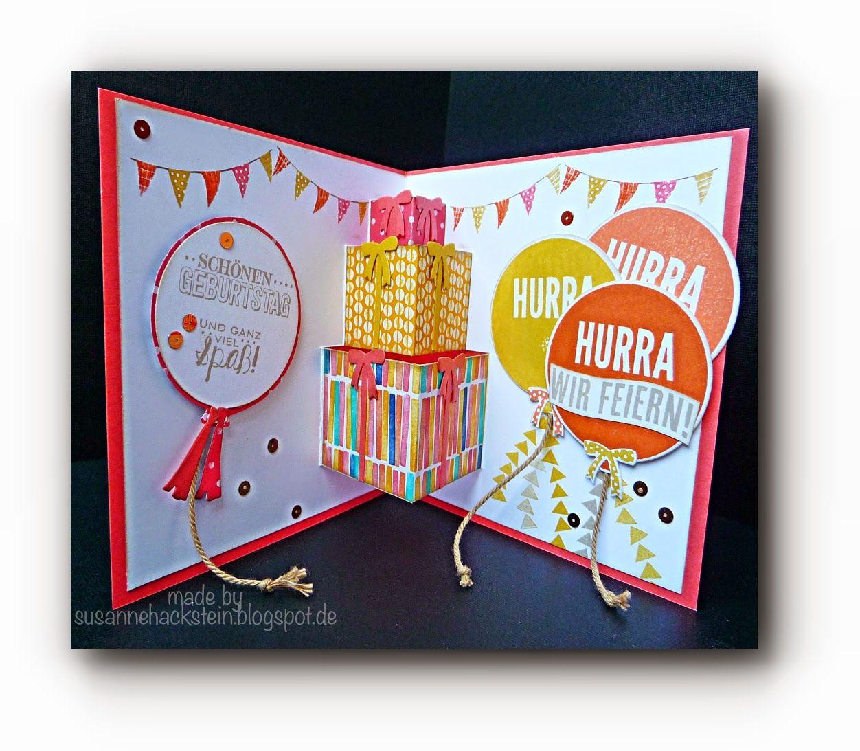 Geschenkestapel Pop-Up Karte  Popup karten basteln geburtstag