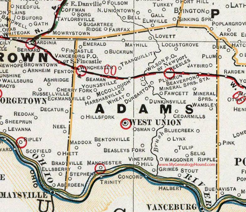 Adams County Ohio 1901 Map By Cram West Union Peebles
