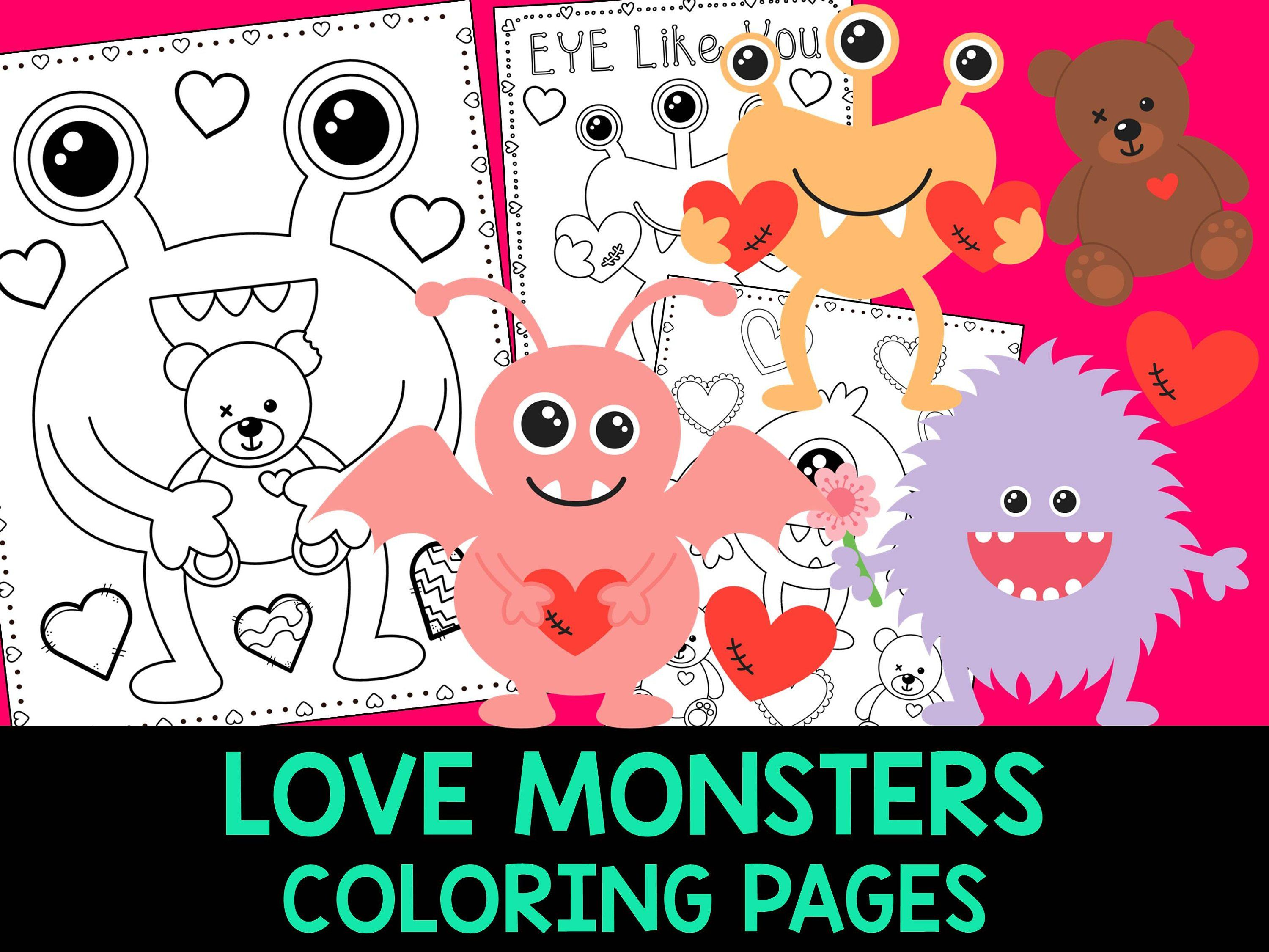 Love Monsters Coloring Book Pages The Crayon Crowd Etsy Monster Coloring Pages Love Coloring Pages Valentine Coloring Pages
