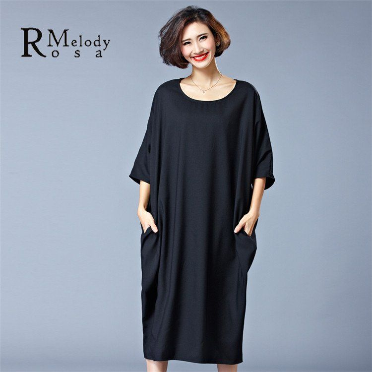 0b57a056bf2 Women's Plus Size Dresses Casual Women Pure Color Red Black Short Sleeve  Brief Big Sizes Dress(R.Melody HS0027)