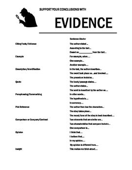 Text Evidence Sentence Starter Handout | Things I Offer on