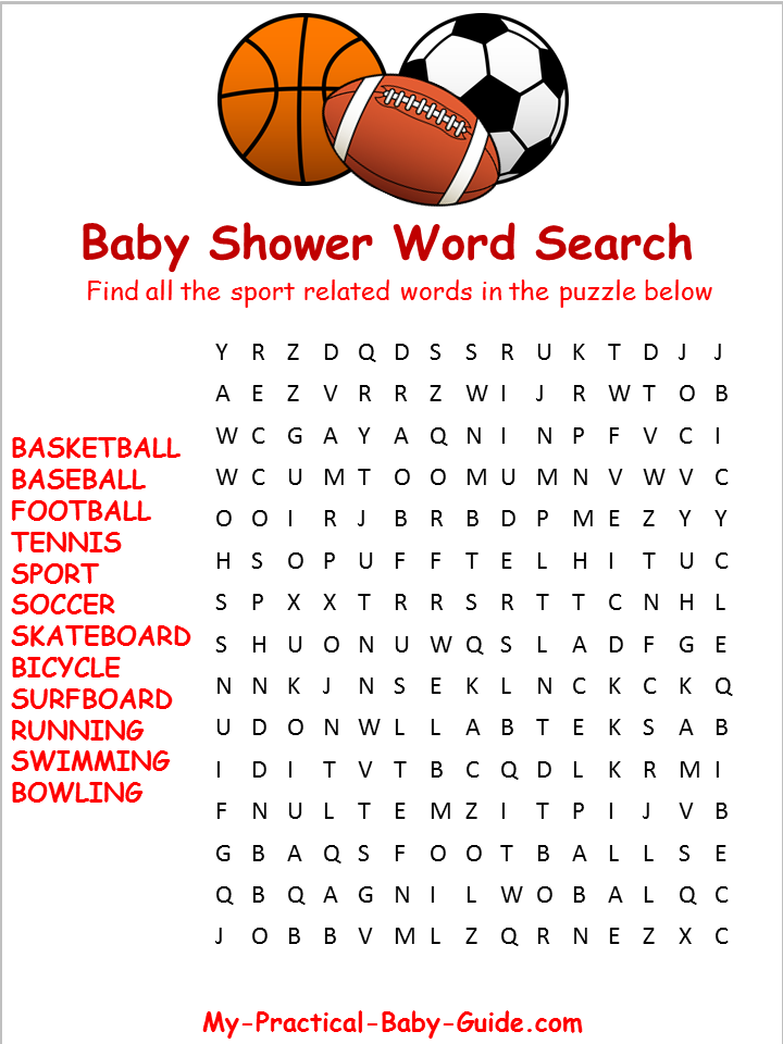 graphic about Sports Word Search Printable identified as Video game Boy or girl Shower Topic Strategies - My Easy Kid Shower