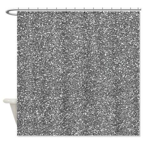 Silver Grey Glitter Shower Curtain On CafePress