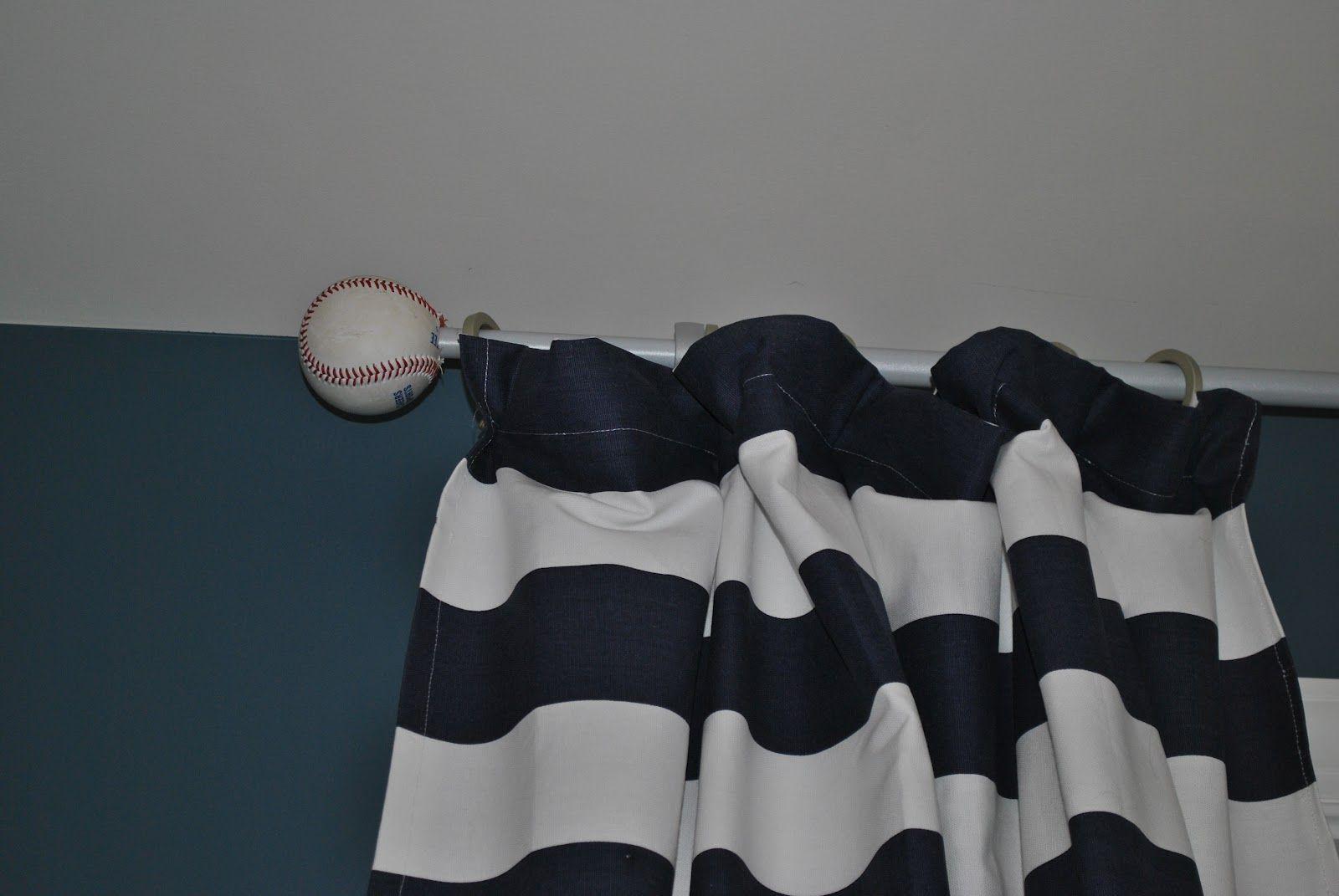 Adventures In Diy Boy Baseball Room Part Ii Baseball Curtain Rod