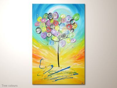 "Easy colourful modern art painting /  Moderne farbenfrohe Kunst  ""Tree colour""  http://martink-kunst.de/abstraktemodernebilder/moderne-abstrakte-kunst-tree-colours-60-x-90-cm-bild-in-gelb-blau-bunt-mit-baum/  visit me for more:  http://martink-kunst.de"