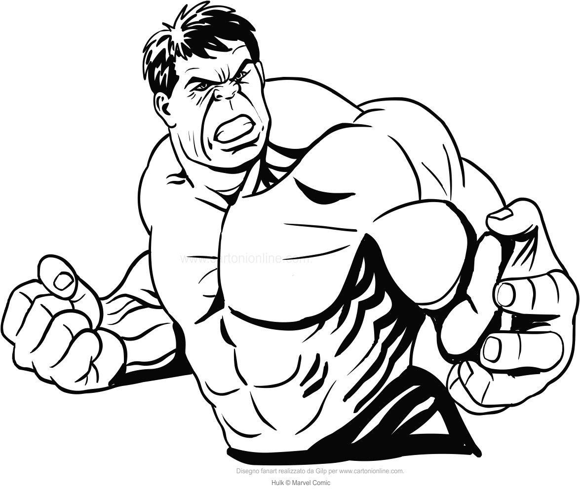 Disegno Di Hulk In Piano Medio Da Colorare Con Disegni Marvel Da