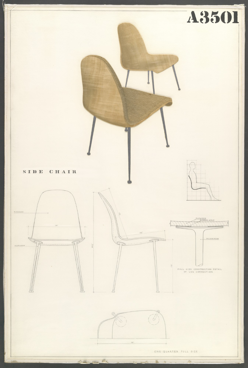 Charles Eames Eero Saarinen Side Chair Entry Panel For Moma Competition For Organic Design In Home Furnishings In 2020 Charles Eames Eero Saarinen Organic Design