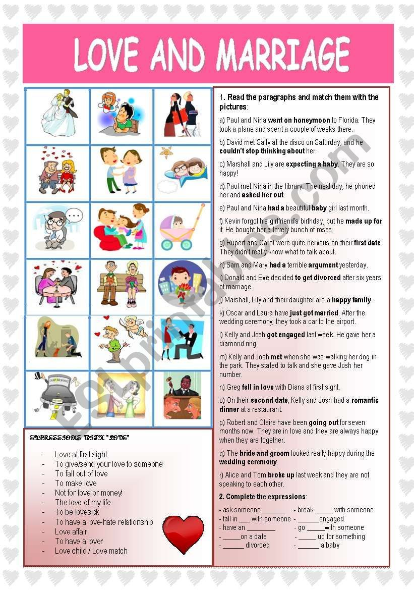 It S A Worksheet With Lots Of Vocabulary About Love Relationships And Marriage There S A Picture Matching Love And Marriage Vocabulary Worksheets Vocabulary