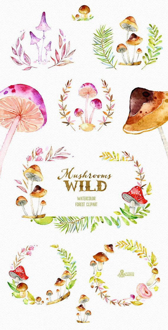 Watercolor Clipart with Mushrooms, leaves, wreaths, template etc). Perfect graphic for invitations, greeting cards, photos,