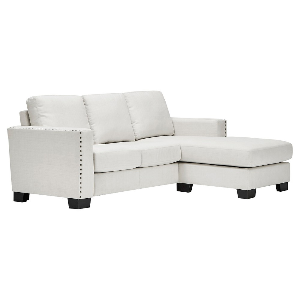 Carnegie Hill Nailhead Chaise Loveseat Sectional White - Inspire Q