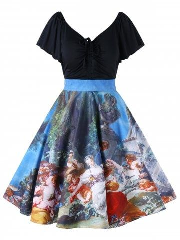 Plus Size Painting Butterfly Sleeve Vintage Dress Painting