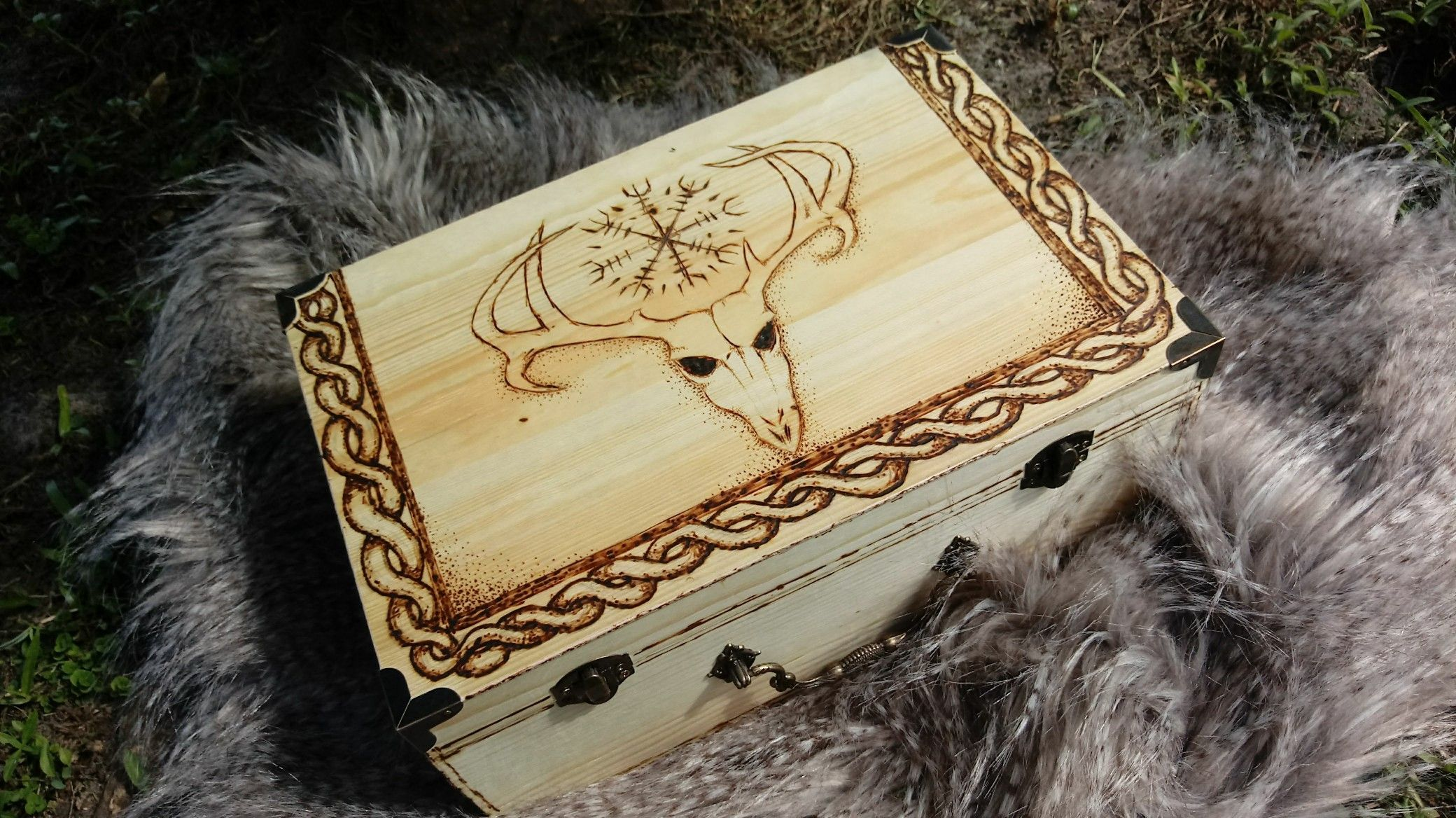 Keepsake box adorned with Viking Helm of Awe! Great place to