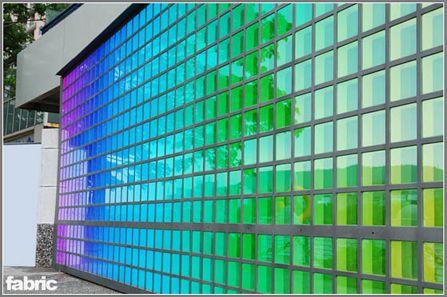 Exterior Wall Built With Glowled Fabric RGB Glass Bricks