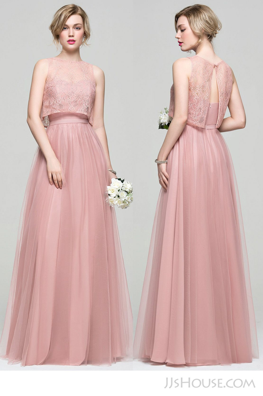 A-Line/Princess Sweetheart Floor-Length Tulle Bridesmaid Dress ...