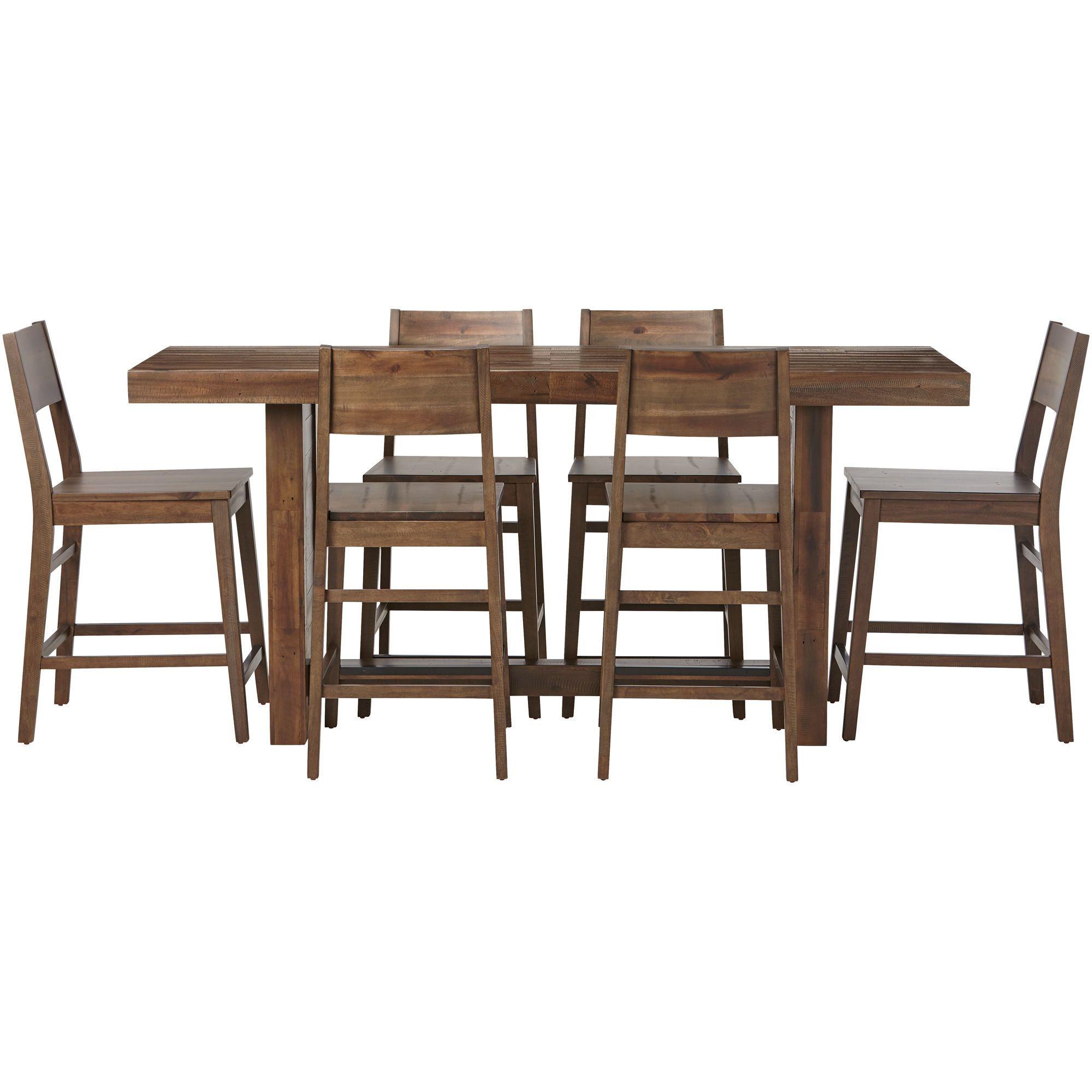 Slumberland Furniture Rye 5 Piece Rustic Gray Counter Height Dining Set Counter Height Dining Sets Dining Set Counter Height Stools