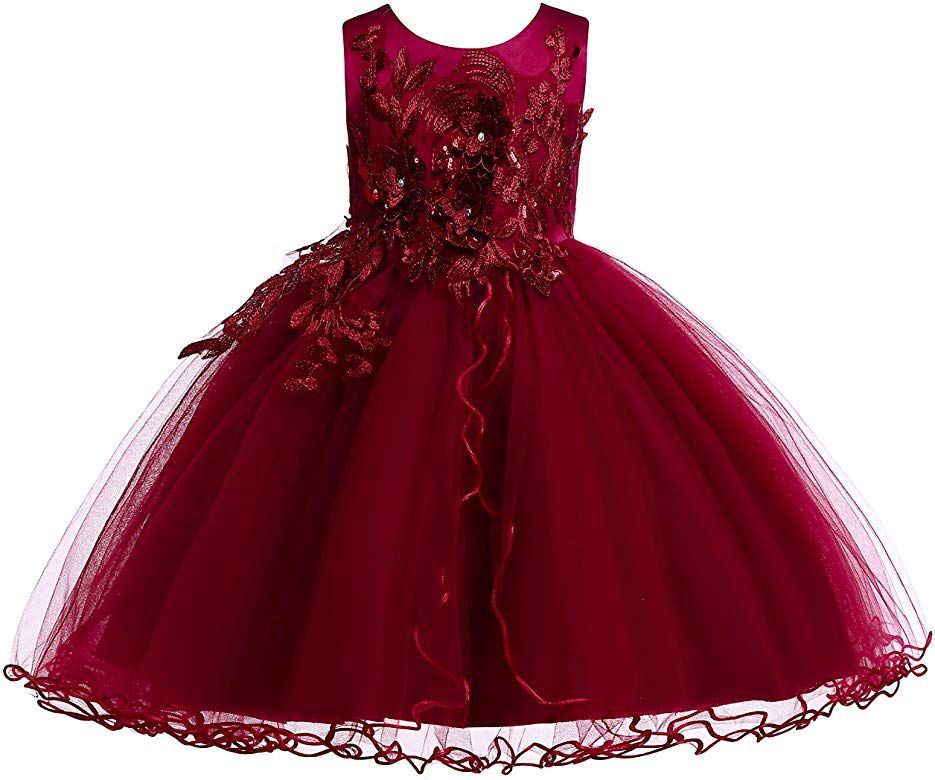 US Flower Girls Dress Tutu Gown Formal Wedding Bridesmaid  Formal Lace Ball Gown