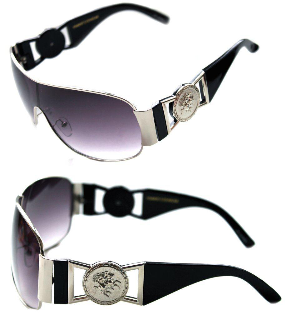 99ca59867ccba Medusa Metal Gold Logo Black Silver Shield Aviator Sunglasses Vintage Hip  Hop