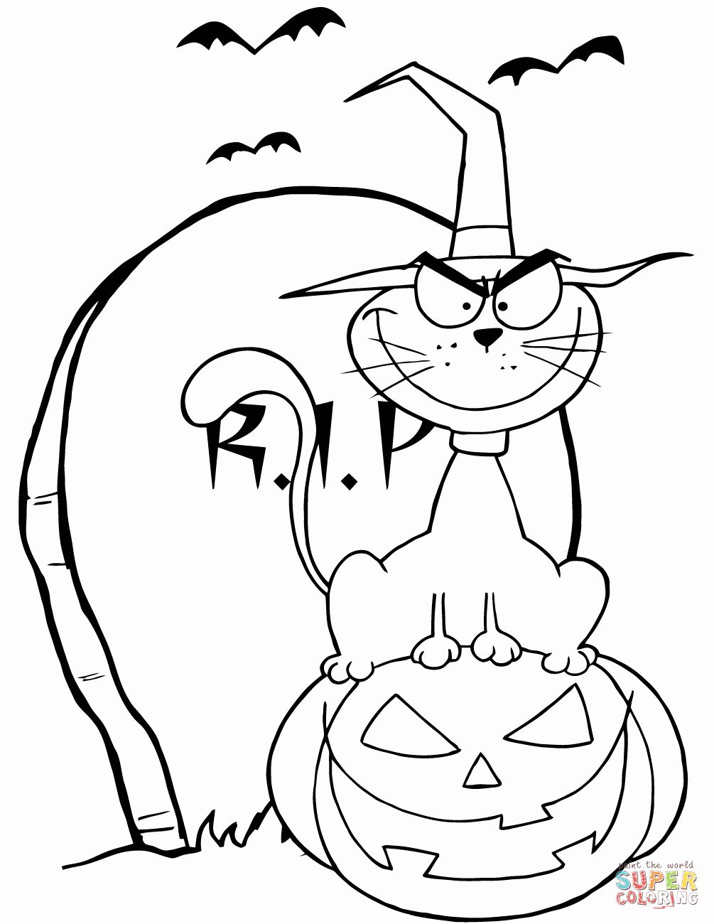 Halloween Printable Coloring Pages Awesome Halloween Cat On Pumpkin Near Tombstone Coloring Page Gambar Warna Kartun