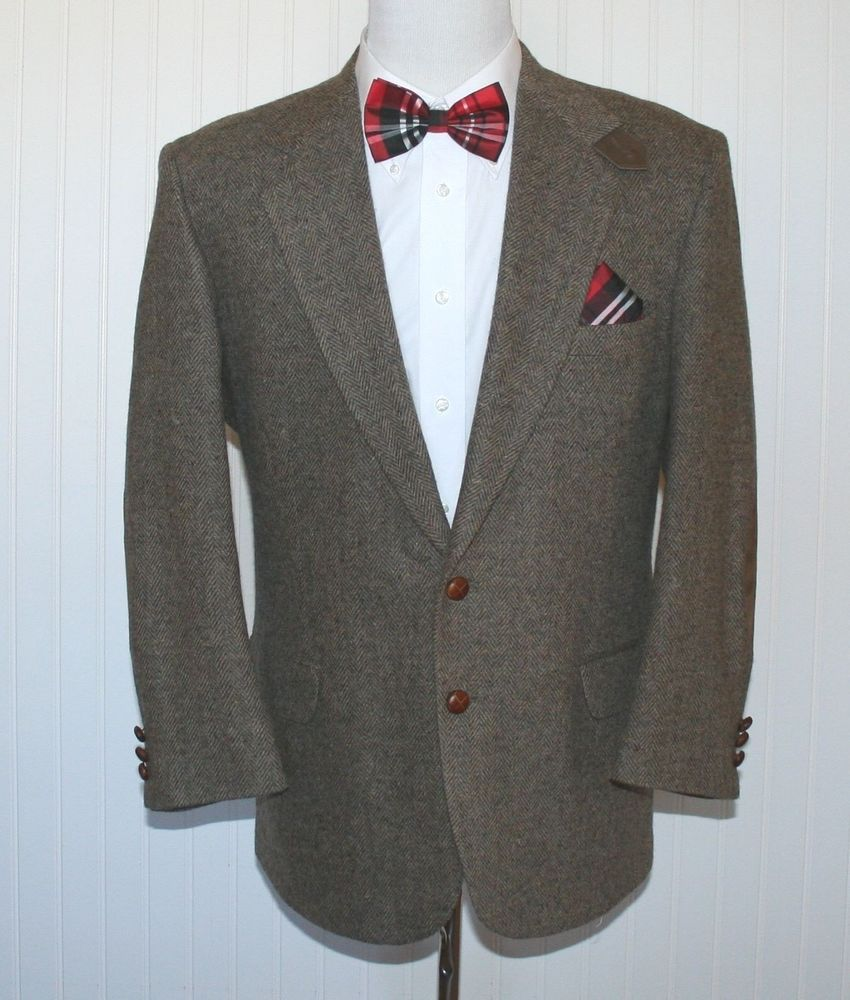 Stafford Mens 42 R Wool Herringbone Brown Sport Coat Leather Knot 2 Button #Stafford #TwoButton