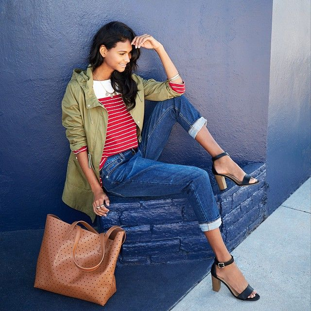 Old Navy spring style 2015 - army green anorak, red stripe top and boyfriend jeans